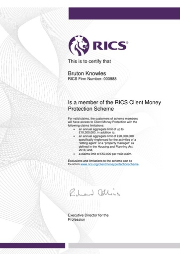RICS Client Money Protection Certificate